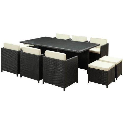 Hot Sale LexMod Reversal Outdoor Wicker Patio 11-Piece Dining Set in Espresso with White Cushions