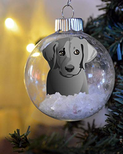 Brand Free Silver Lab Labrador Retriever Puppy Christmas Ornament Personalized Floated Paper Memorial Glass Bulb Dog Gift