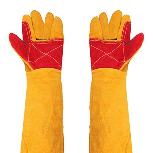 Guantes de soldar gruesos, 24 pulgadas, mangas extralargas, guantes de seguridad resistentes al calor, guantes de protección, guantes de jardinería para chimenea, guantes de trabajo a prueba de cortes