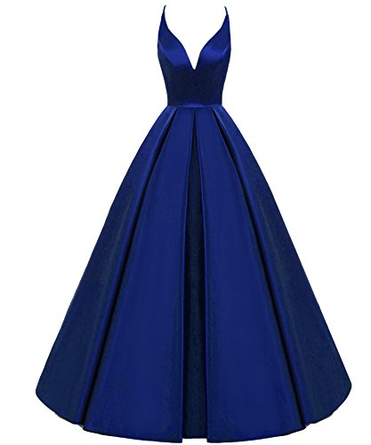 Lemai Backless Deep V Neck Simple Long A Line Prom Gowns Evening Dresses Royal Blue US 8