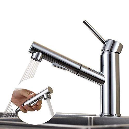 HOMELODY Wasserhahn Küche Ausziehbar,küchenarmatur mit Brause,Spültischarmatur mit herausziehbarer Dual-Spülbrause,Armatur 120° Schwenkbar Messing Mischbatteri, kaltes und heißes Wasser