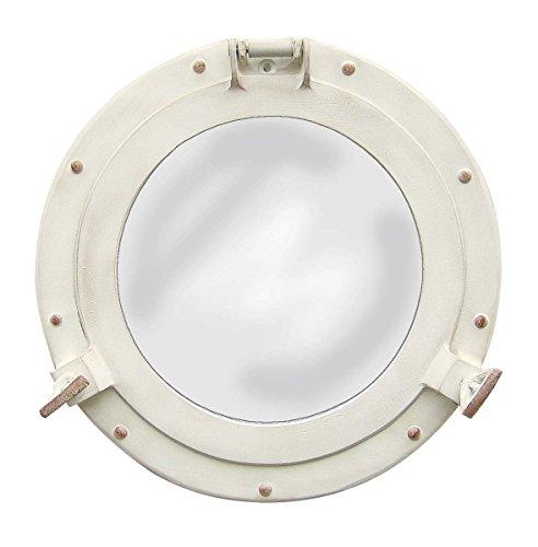Nagina International Antiker weißer Bullauge-Spiegel   Maritime Aluminium Vintage Dekor