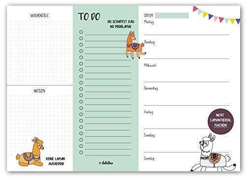 dabelino Wochenplaner DIN A4, 50 Blatt: Lama/ Alpaka (to Do Liste, Terminplaner, Geschenk für Kollegin)