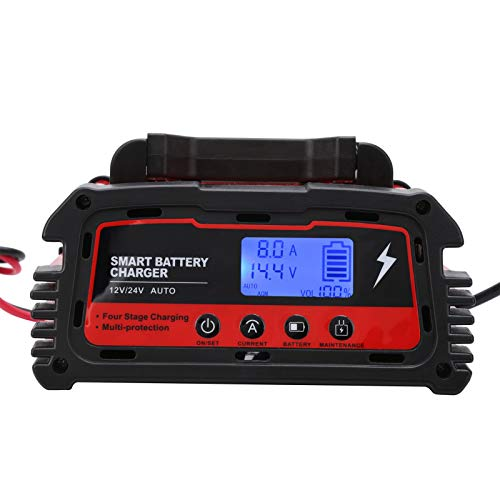 Cargador de batería para automóvil, 6A / 8A / 10A 12V 6A 24V Cargador de batería, Paquete de cargador AC110V-220V portátil inteligente, completamente automático(EU)
