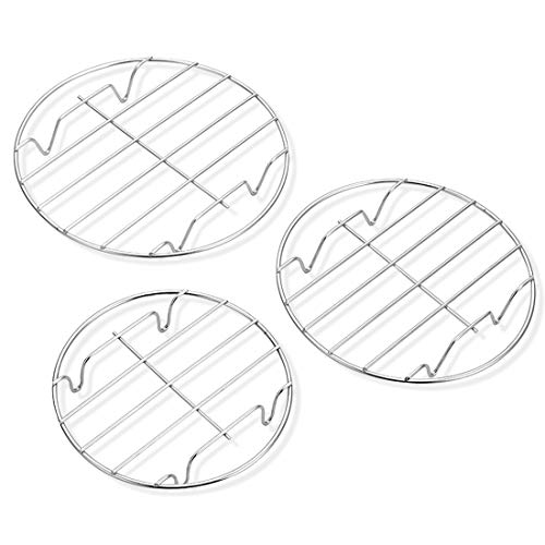 "3 Pack Cooling Steaming Cake Rack, 6""/7""/8"" round cooling rack, Stainless Steel Round Rack, for Air Fryer/Stockpot/Pressure Cooker/Round Cake Pan, Healthy & Dishwasher Safe"