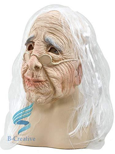 B-Creative Mscara para hombre grun y anciano arrugada realista para disfraz de Halloween (anciana con mscara de pelo)