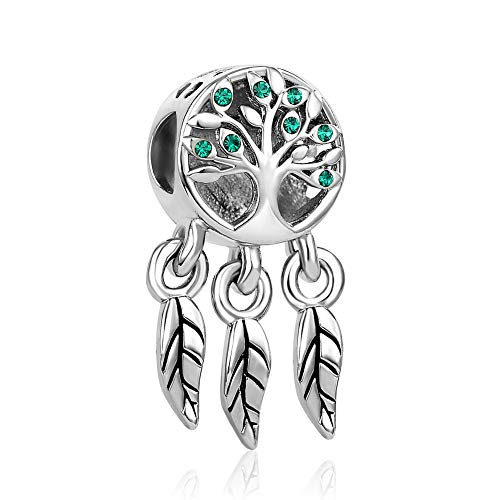 KunBead Family is Forever Tree of Life Love Green Crystal Charms for Bracelets Christmas Charm Beads