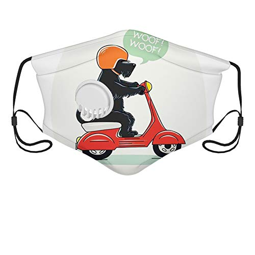 Fashion 3D Face Protect Printed Gesichts-Mundschutz, Illustration of a Puppy Riding Scooter with Woof Woof Text Balloon Comic Design,with 10 Filter