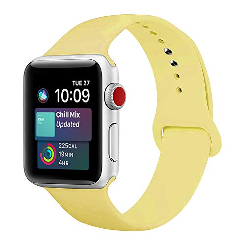 ENANYN Compatible Apple Watch Band 38mm 40mm 42mm 44mm Soft Silicone Sport Wrist Strap iWatch Replacement Bracelet Wristbands for Apple Watch Series 4,3,2,1 of Size S/M,M/L (Yellow, 38mm/40mm M/L.)