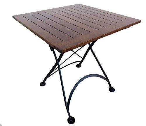 Mobel Designhaus French Café Bistro Folding Table, Jet Black Frame, 32' x 32' x 29' Height, Square European Chestnut Wood Slat Top with Walnut Stain
