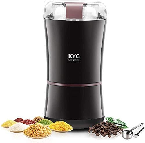 KYG - Macinacaffè elettrico da 300 W, con lame in acciaio inox 304, capacità 50 g, 9000 giri/min, portatile per chicchi di caffè, spezie, noci, erbe con spazzola per la pulizia