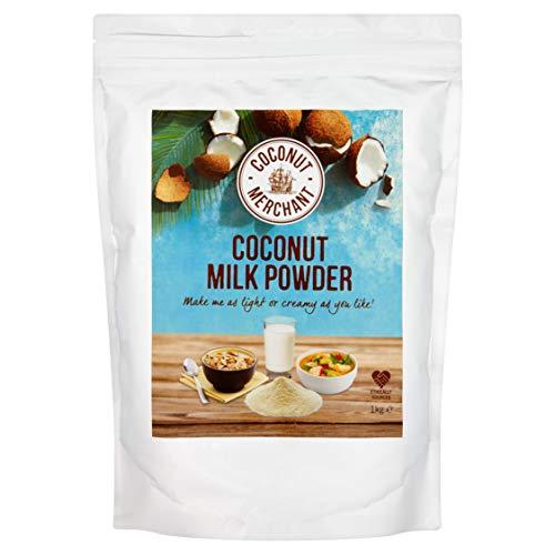 1 kg Coconut Merchant Leche de coco en polvo Alternativa de leche en polvo vegana | para curry, sopas, salsas, batidos y bebidas | Vegano | De origen ético | Versátil, bébalo, agréguelo, revuélvalo