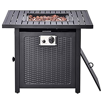 X&JJ Fire Pit Propane Gas Table, Square Fire Bowl, Outdoor Auto-Ignition Fireplace with Waterproof Cover, Poker for Camping Picnic Bonfire Beaches Park Patio Backyard by X&JJ