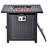 X&JJ Fire Pit Propane Gas Table, Square Fire Bowl, Outdoor Auto-Ignition Fireplace with Waterproof Cover, Poker for Camping Picnic Bonfire Beaches Park Patio Backyard