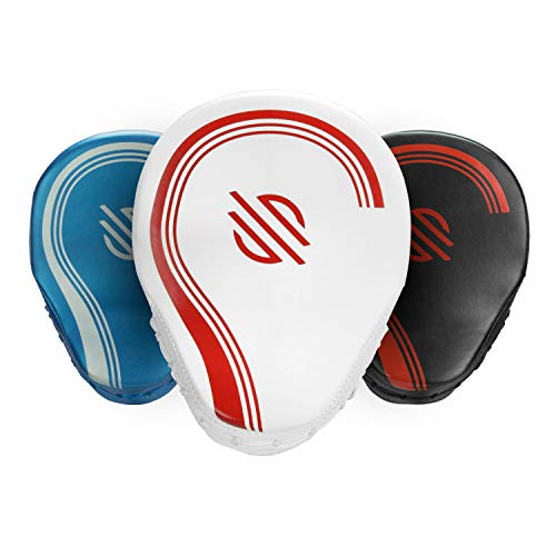 Sanabul Core Series Curved Boxing MMA Punching Mitts (White/Red)