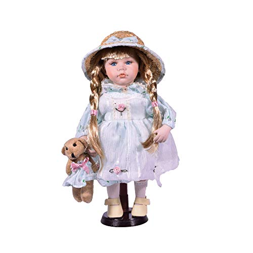 Bambola in porcellana tradizionale costume ragazza 30,5 cm orsacchiotto con supporto in legno – Vintage Collectible Home Figurine