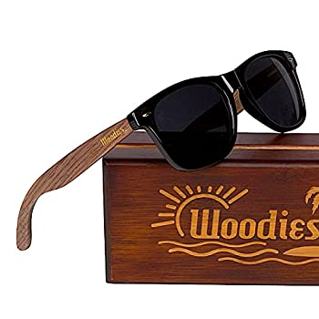 WOODIES Polarized Walnut Wood Sunglasses for Men and Women   Black Polarized Lenses and Real Wooden Frame   100% UVA/UVB Ray Protection