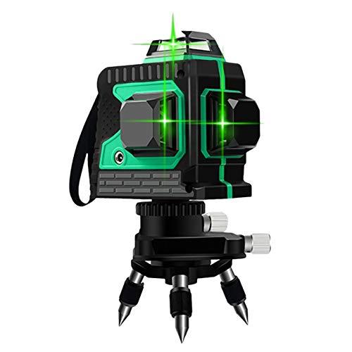 Láser de líneas cruzadas de 12 líneas, 3D, 3 x 360°, color verde, autonivelante, protección IP54, nivel láser de línea cruzada con 2 pilas, línea vertical y horizontal
