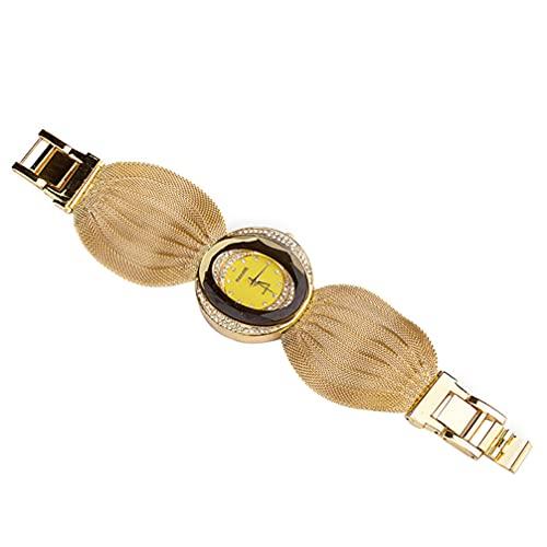 UKCOCO Reloj de Cuarzo para Mujer Reloj de Cristal Ovalado con Correa de Malla Reloj de Cuarzo Multifunción para Mujer Regalos de Cumpleaños para El Día de La Madre Dorado