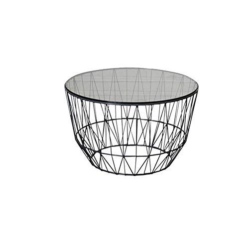 Jcnfa-tafel bijzettafel, ijzeren bijzettafel geometrisch ronde bijzettafel robuust gehard glas stabiel, decoratief, voor woonkamer, slaapkamer, balkon, metaal