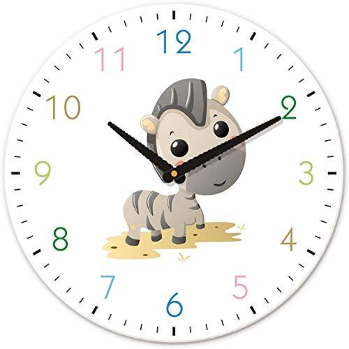 Reloj De Pared De 12 Pulgadas De Animal De Cebra De Dibujos Animados Lindo Regalo Para Habitación Infantil Los Números De Colores Pueden Atraer La Atención De Los Niños Más Silencioso