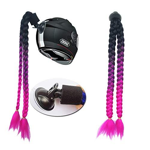 3T-SISTER Helm geflochtener Pferdeschwanz Motorrad Fahrrad Helm Haar Zöpfe Haarteile für Erwachsene (B11)