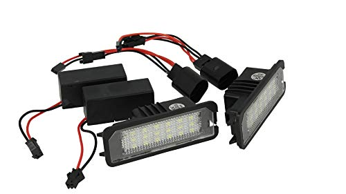 CARALL LE4545 Kit Luci Targa Led Con 18 Smd Canbus No Errore Resistenza Inclusa Bianco 12V 5W (2 luci led + 2 Resistenza)