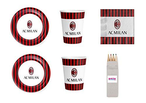 Party Store Web by Casa Dolce Casa A.C. Milan Sportfußball A.C. Milan für Geburtstagsfeier, Tischdekoration, Party-Set Nr. 12 CDC- (24 Teller, 24 Becher, 40 Servietten + Orma)