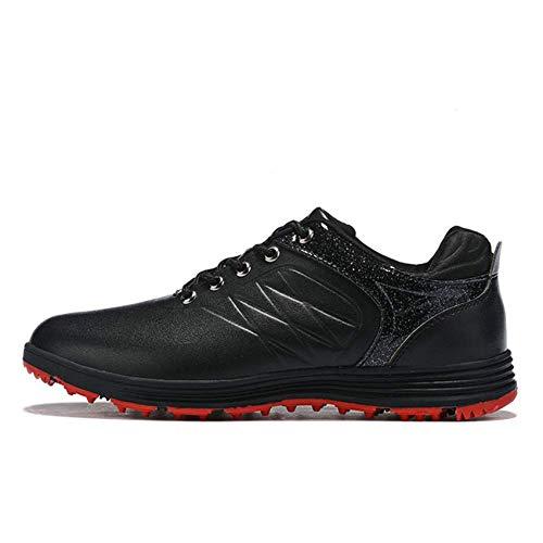 FJJLOVE Zapatos De Golf para Hombres, Zapatos De Entrenamiento De Golf Cómodos, Antideslizantes, Impermeables, Sin Púas, Zapatillas De Correr Casuales, Botas De Golf De Cuero Transpirables,Negro,42