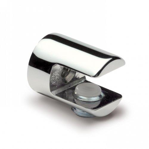 Glasplattenträger rund, ø 20mm x 26mm, für 6-10 mm Glas, Zink glanzverchromt