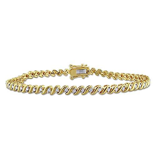 SLV Pulsera de tenis de 2,90 quilates T.W. de corte redondo transparente D/VVS1 Diamond 'S'-curva en plata de ley 925 con chapado en oro amarillo