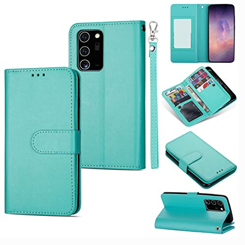 DEFBSC Samsung Galaxy Note 20 Ultra 5G Wallet Case,Magnetic Premium Leather Folio Flip Case with 9 Card Slots/Holder Kickstand and Wrist Strap for Samsung Galaxy Note 20 Ultra 5G-Mint Green