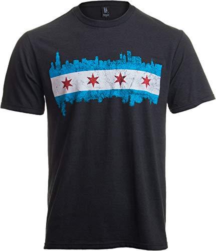 Chicago City Flag Skyline   Vintage Retro-Feel Triblend T-Shirt for Men or Women-(Triblend,L)