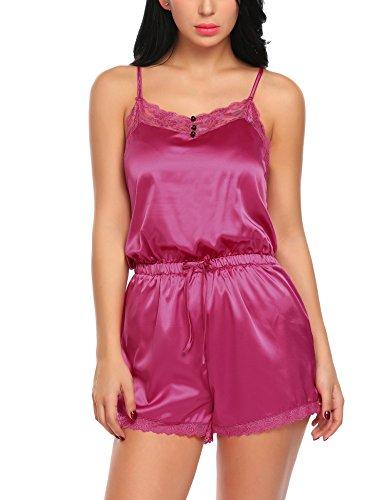 untlet Damen Pyjama Set Kurz Nachtwäsche Sexy Dessous Shorty Nachthemd Reizwäsche Lingerie Rückenfrei Spitze Jumpsuit Satin Schlafanzug
