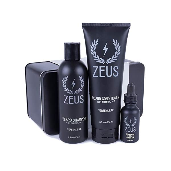 ZEUS Starter Beard Care Set, Beard Wash and Regular Beard Oil (Verbena Lime) MADE IN THE USA 1