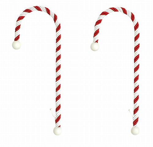 LPS - Supporti per calze di Natale a forma di bastoncino candito con clip per camino