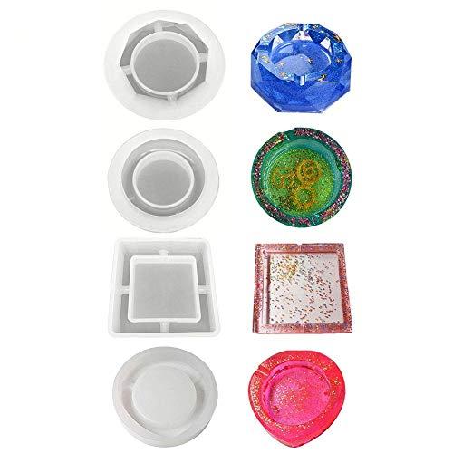 Teabelle Moldes de Silicona de Resina epoxi cenicero de Arte Incluyen Molde de cenicero Cuadrado, en Forma de corazón, Redonda y rombo 4pcs
