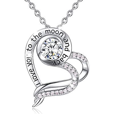 "Heart Sterling Silver Necklace for Women CELESTIA CZ Heart Pendant I Love You to The Moon and Back Necklaces, Birthday Valentines Gifts for Girlfriend Wife - 18"" chain"