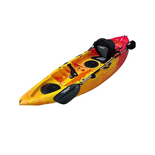 Cambridge Kayaks ES, Zander Rojo con Amarillo Solo Kayak DE Pesca Y Paseo, RIGIDO,