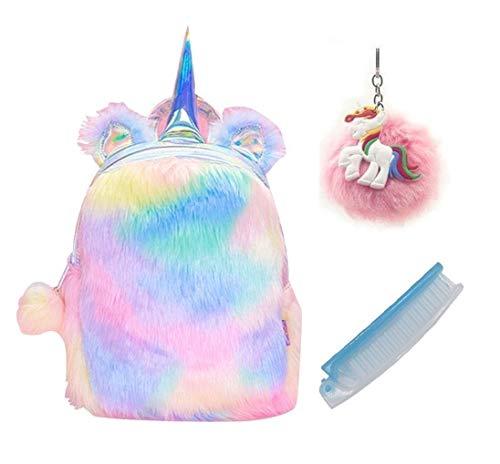 Cute Plush Unicorn Backpack, Mini Unicorn Backpack, 3D Unicorn Backpack, Soft Rainbow Backbag