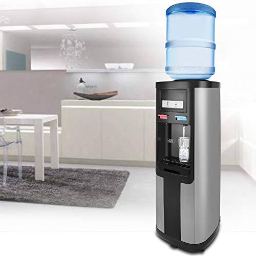 Water Cooler Dispenser Top Loading 5 Gallon Stainless Steel Hot Cold and Normal Temperature Water W/Child Safety Lock