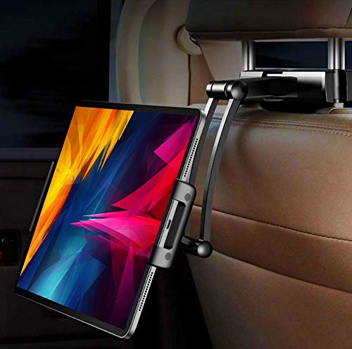 Tablet car Headrest Mount Holder with Adjustable arm and Bracket, Compatible with IPAD,IPAD Mini,IPAD PRO 9.7/10.5/12.9 inch, MS Surface PRO,Samsung, Any Tablet or Phone 5-13'