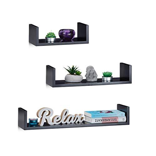 Relaxdays Wandrek, set van 3, hoekige U-vorm, vrij zwevend, 15 cm diep, voor boeken, dvd's, decoratie, zwart