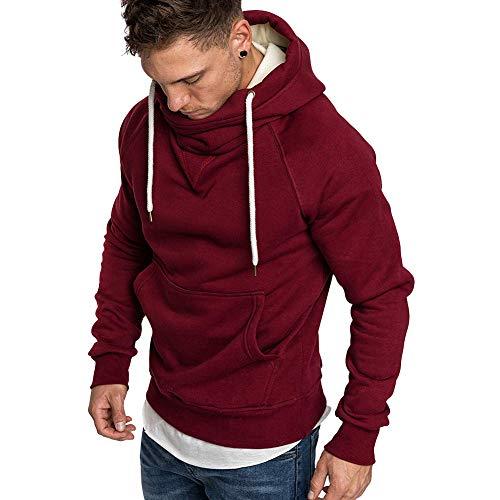 Sudadera de cuello alto sólido con capucha para hombre, color rojo