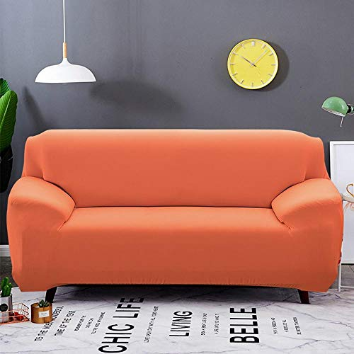 KANG Dehnbare Sofabezug, Sofabezug mit Armlehnen,Sofa Cover, Living Room Sofa Cover, Armchair Cover, 1/2/3/4 seat-Candy orange_Pillow Cover 45x45cm