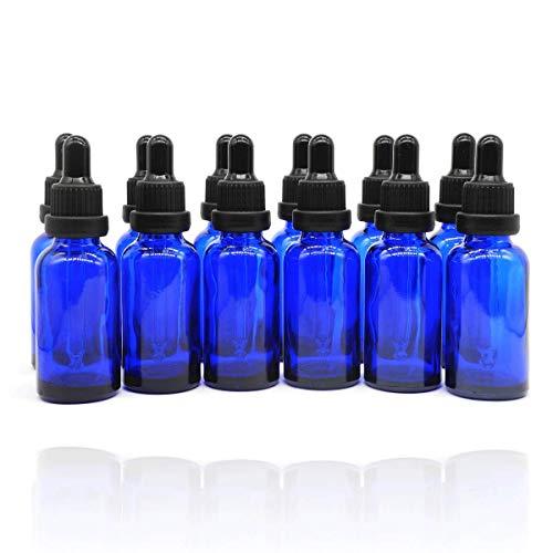 Yizhao Azul Frasco Cuentagotas Cristal 30ml, Botellas Cuentagotas con [Pipeta Cuentagotas Cristal], para Aceite Esencial, Masaje,Fragancia, Aromaterapia, Laboratorio, E-Líquidos - 12Pcs
