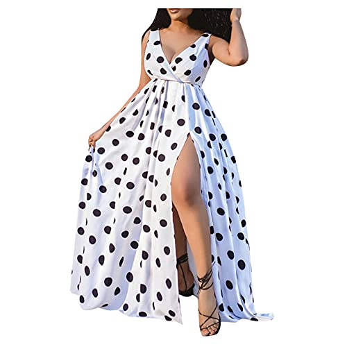 PANGF Vestido sexy para mujer, cuello en V, sin mangas, informal, suelto, para playa, noche, verano, fiesta, largo con ranura. Blanco XL