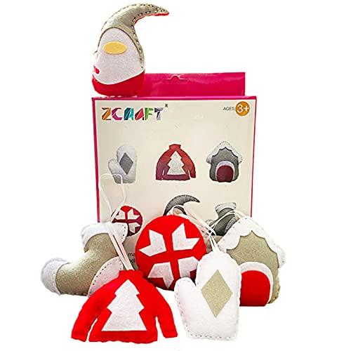 Kit de poupées à coudre en feutre pour enfants DIY Santa Dolls Sock Doll Christmas Ornaments Set Kit d'artisanat pour les enfants à jouer Décoration de maison de Noël, vitrine, cadeaux de Noël idéaux