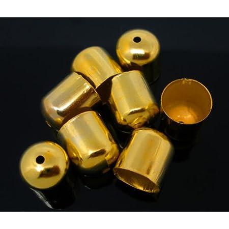 10x Endkappe Quaste  8mm 10mm 11mm Bronze mit Loch Schmuck Leder Bändel etc.