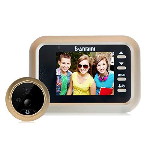 Ring video doorbell Danmini Q8 2.4 pulgadas de pantalla en color de la cámara de seguridad 1.0MP No molestar mirilla visor, soporte de tarjeta TF (32 GB máx.) / Visión nocturna / PIR detección de movi